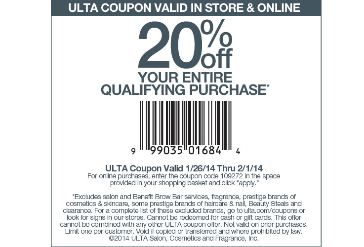 Ulta 20% off Coupon January 2014