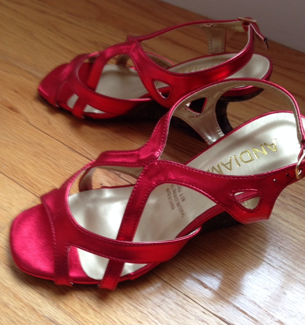 Andiamo red sandals, Midnight Velvet