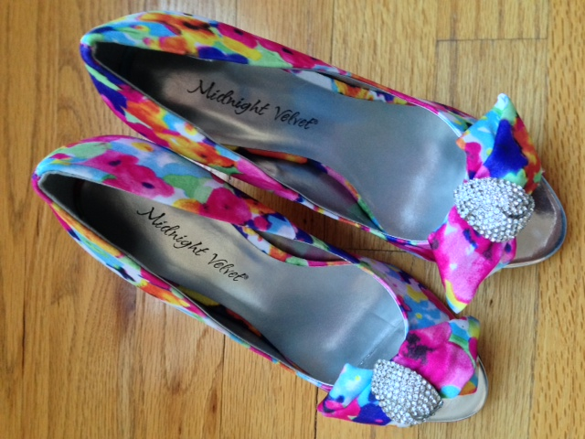 Midnight Velvet floral print satin pumps