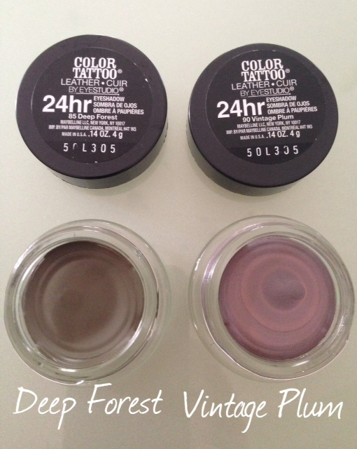 Deep Forest and Vintage Plum cream eye shadows