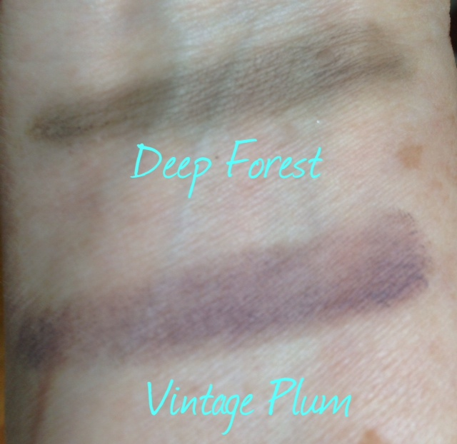 Deep Forest, Vintage Plum cream eye shadows