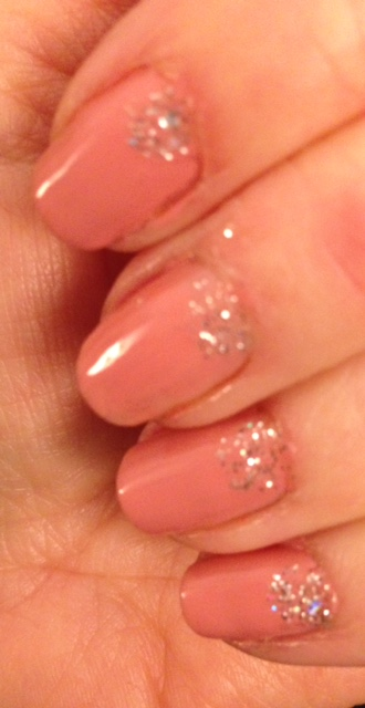pink with silver glitter manicure