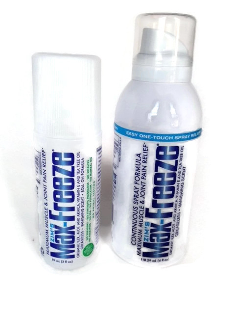 Maximum Muscle and Joint Pain Relief roll-on and spray