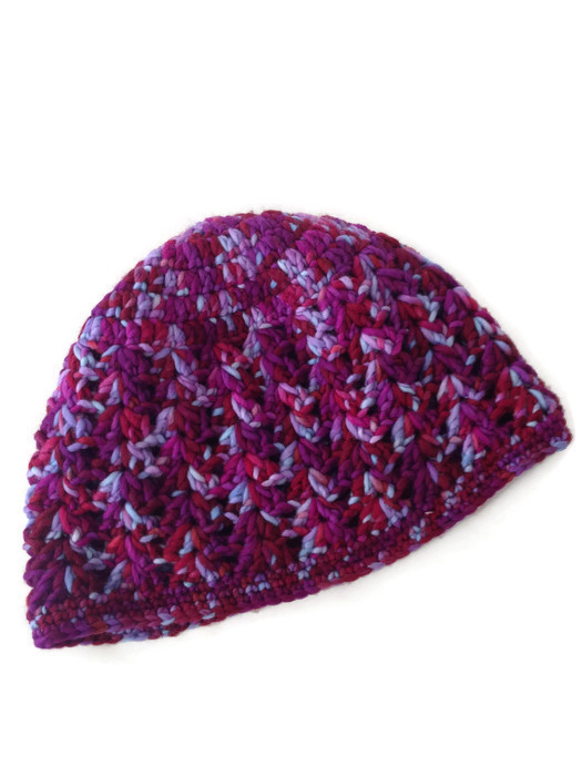 crochet-shell-beanie-multi-color