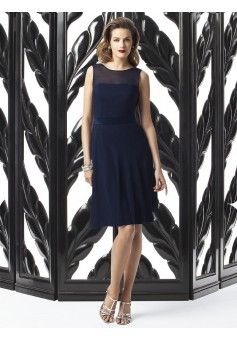 Victoria's Dress navy blue chiffon skirted cocktail dress