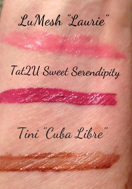 LuMesh, LipTini, Tat2U lipglosses