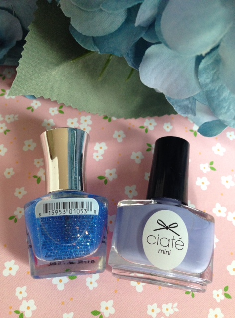 Ciate London Double Bubblgum nail lacquer, PIXEL sheer blue sparkle topper