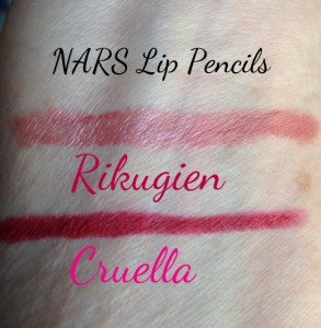 Cruella Velvet Matte, Rikugien Satin Lip Pencil swatches