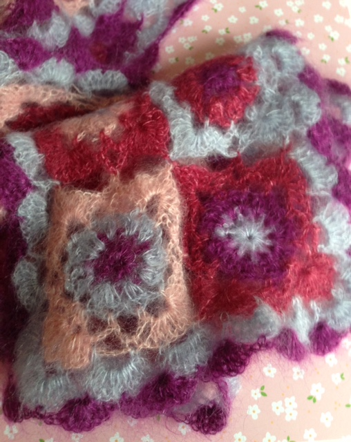 scarf crocheted with lace weight silk mohair yarn