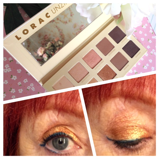 eye look with Lorac Unzipped Gold shadow palette, essence teal gel eyeliner