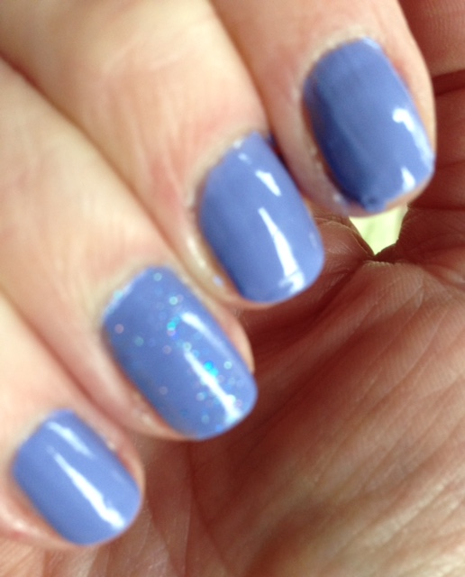 Ciate London Mini Nail Polish in Double Bubblegum with PIXEL sheer blue sparkle topper