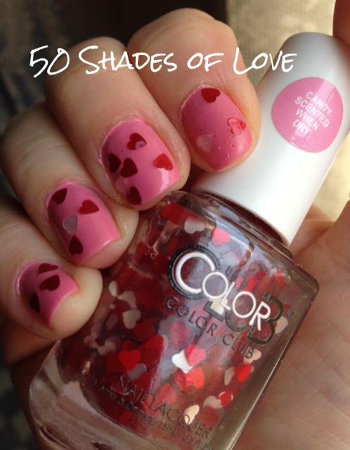 nail polish, glitter topper, heart-shaped glitter