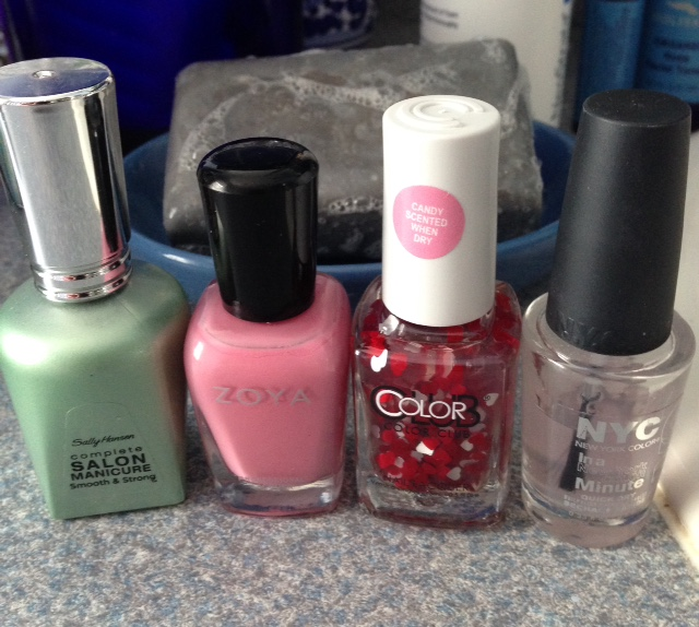 Color Club Nail Lacquer 50 Shades of Love, Zoya Flora Nail Lacquer, Salley Hansen Smooth & Strong, NYC Grand Center Station In A Minute Quick Dry Nail Polish Topcoat