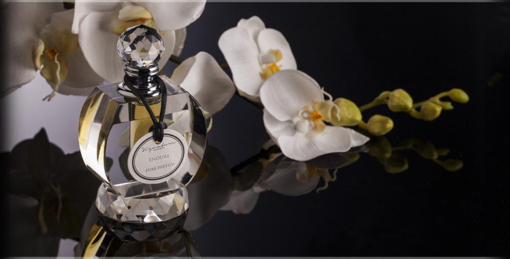 Signature Fragrances London cut glass perfume bottle