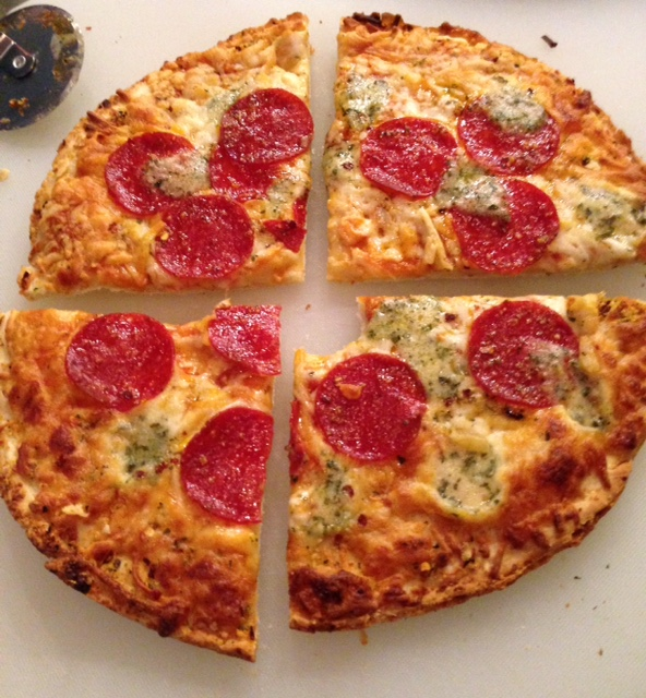 Bon Appetit Pepperoni & Pesto frozen pizza cooked
