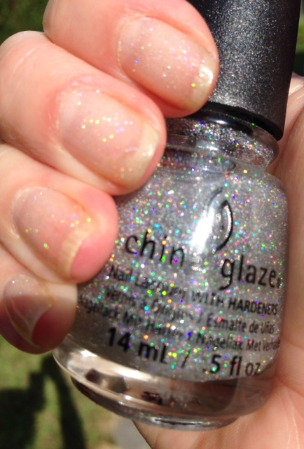 China Glaze Nail Lacquer, Fairy Dust on bare nails