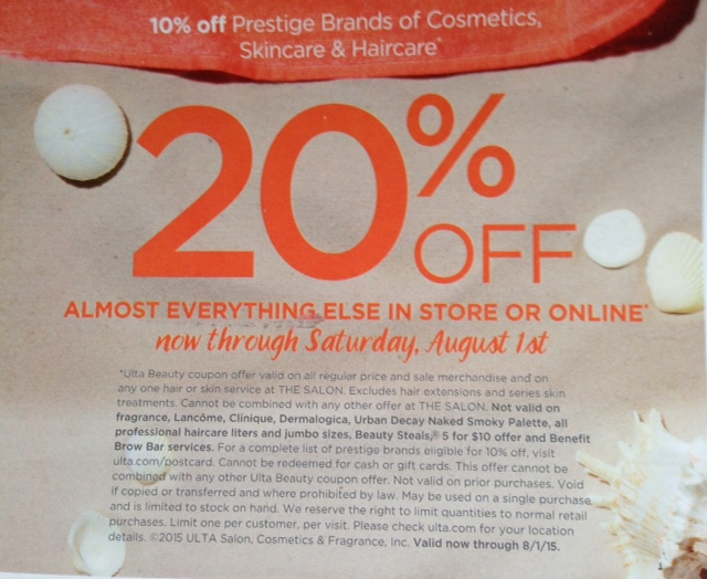 Ulta Beauty discount coupon July 2015