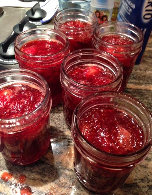 filled-srrawberry-jam-jars