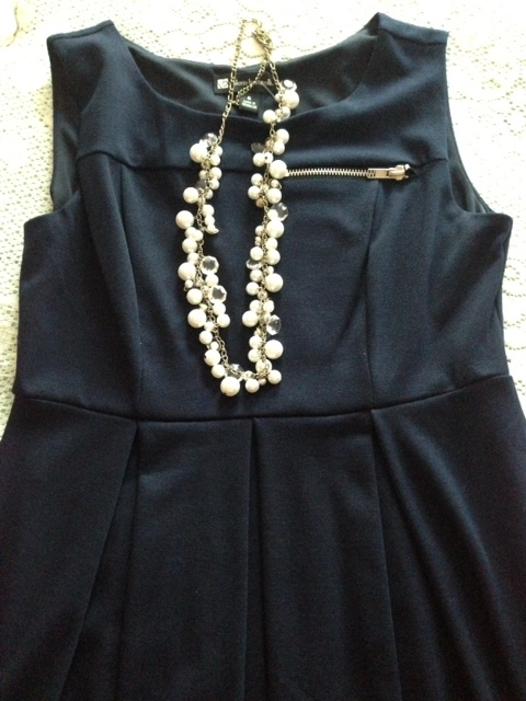 Chloe + Isabel Pearl Crystal Necklace styled with navy dress