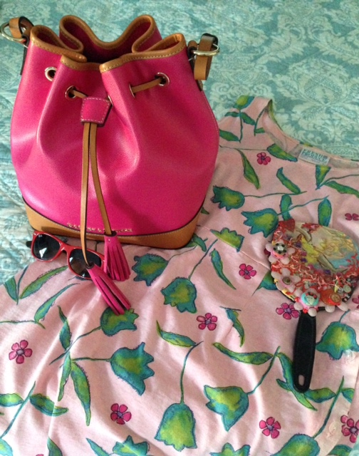 Dooney & Bourke Claremont fuchsia bucket bag