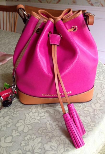 Dooney & Bourke Claremont bucket bag, fuchsia & orange