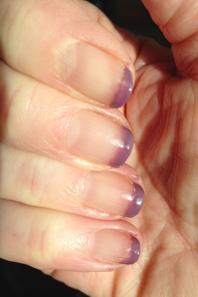 clear nails with purple tips