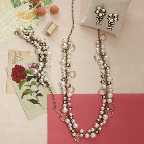 Pearl + Crystal Drops earrings, bracelet and necklace by Chloe + Isabel