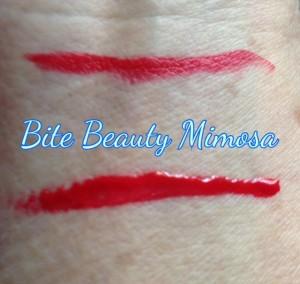 Bite Beauty Mimosa Lipstick & Lipgloss swatches, neversaydiebeauty.com @redAllison