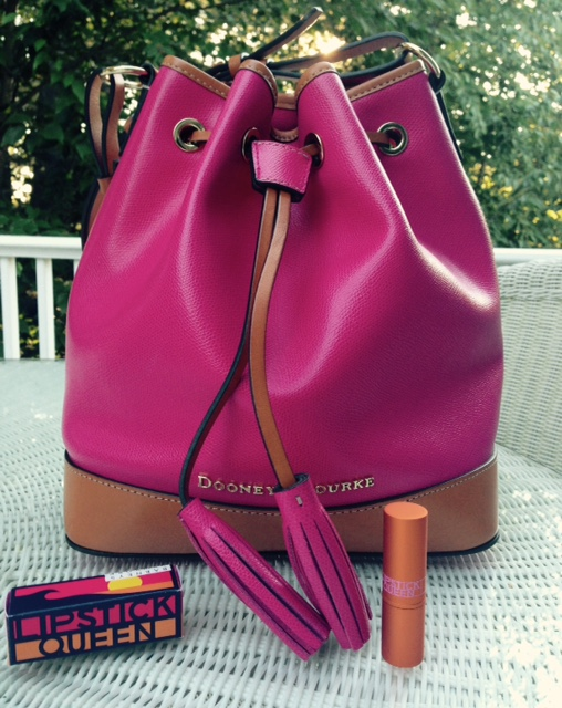 Dooney & Burke pink & orange bucket bag, Lipstick Queen lipstick tube and box, neversaydiebeauty.com @redAllison