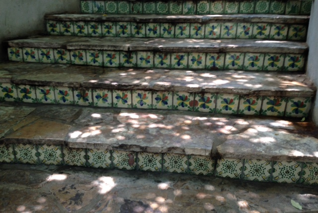 Mexican tile steps on the Riverwalk San Antonio, neversaydiebeauty.com @redAllison