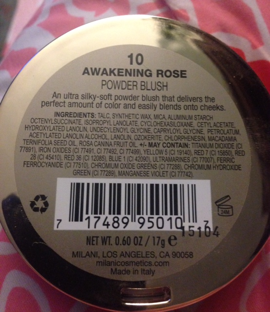 Milani rose powder blush in limited edition Awakening Rose for summer 2015 ingredients, neversaydiebeauty.com @redAllison