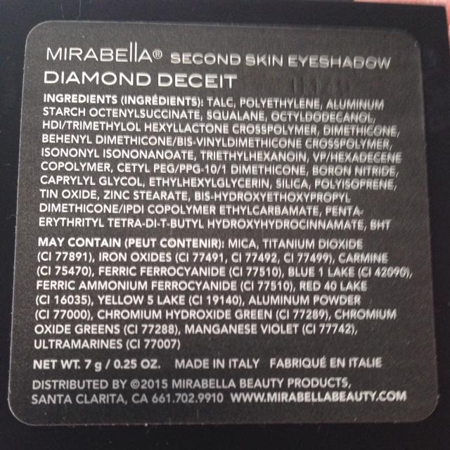 Mirabella Diamond Deceit eye shadow palette ingredients, neversaydiebeauty.com @redAllison