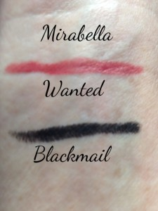 Mirabella Jewel Thief collection lip crayon in Wanted, eye crayon in Blackmail swatches, neversaydiebeauty.com @redAllison