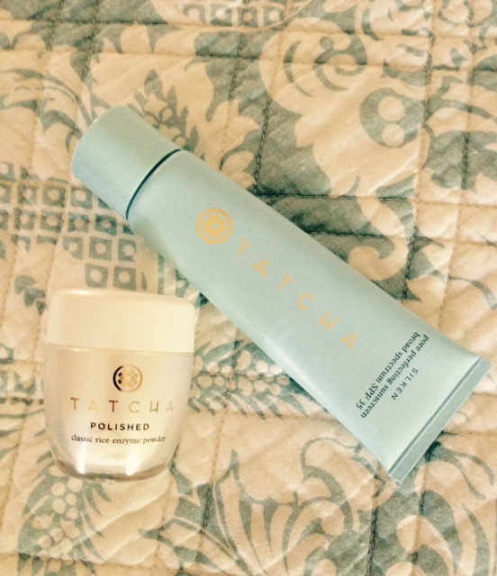 Tatcha Silken Pore Perfecting Sunscreen SPF 35, Tatcha Polished Classic Rice Enzyme Powder