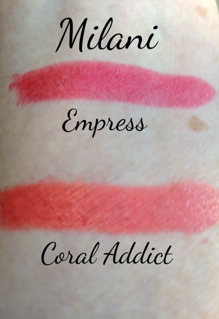 "Milani Color Statement Lipsticks swatches ""Coral Addict"" ""Empress"" swatches neversaydiebeauty.com @redAllison"