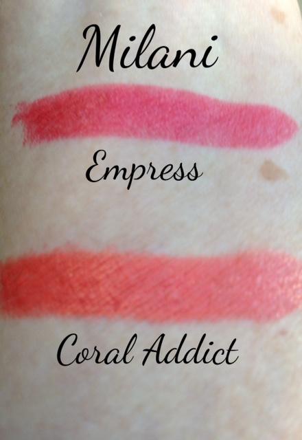 "Milani Color Statement Lipsticks swatches ""Coral Addict"" ""Empress"" swatches neversaydiebeauty.com @redAllison"