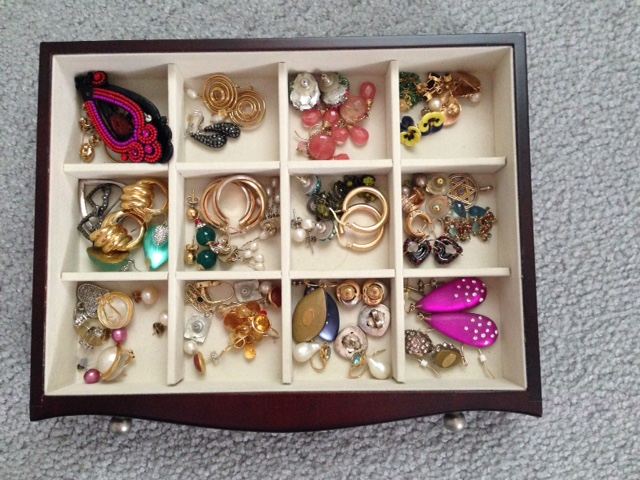 jewelry box drawer of earrings neversaydiebeauty.com @redAllison
