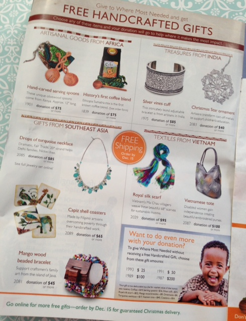 World Vision Gift Catalog handmade gifts neversaydiebeauty.com @redAllison