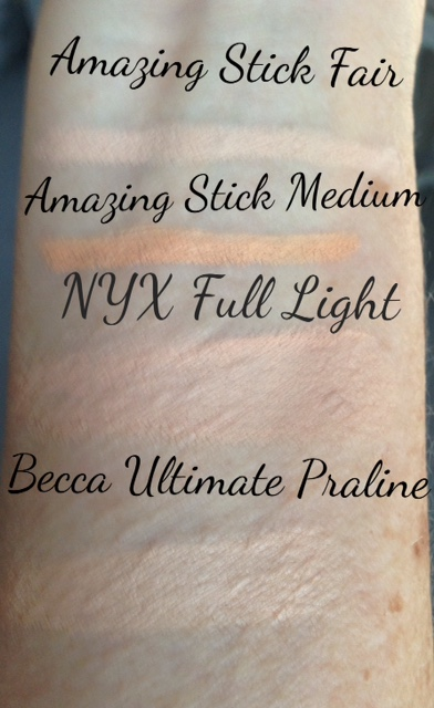 swatches of stick and solid concealers neversaydiebeauty.com @redAllison