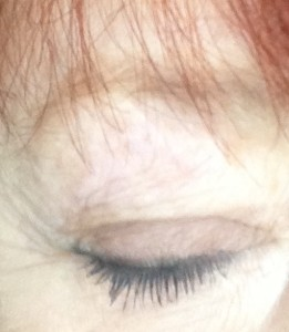 closeup of my eye wearing Youngblood Outrageous Lashes Lengthening Mascara in cobalt neversaydiebeauty.com @redAllison