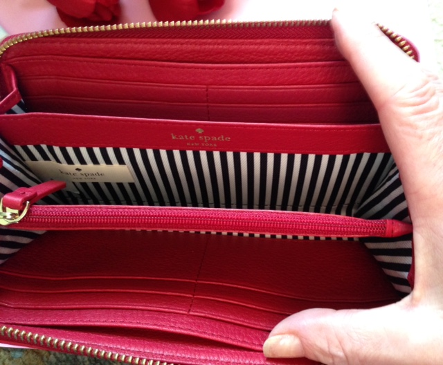 Kate Spade red leather clutch style wallet interior compartments neversaydiebeauty.com @redAllison