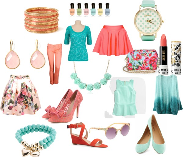 Polyvore set with fashion and accessories in peach and green shades neversaydiebeauty.com @redAllison