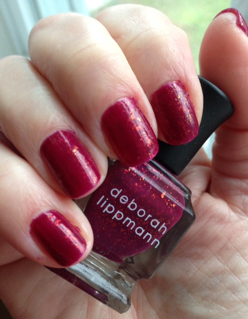 nails wearing Deborah Lippmann Raspberry Beret polish neversaydiebeauty.com @redAllison