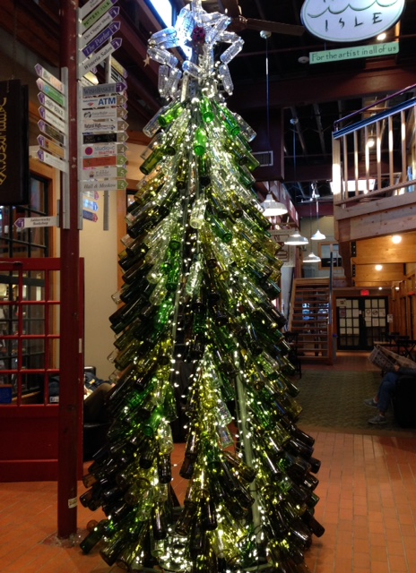 Christmas tree made from empty wine bottles neversaydiebeauty.com @redAllison