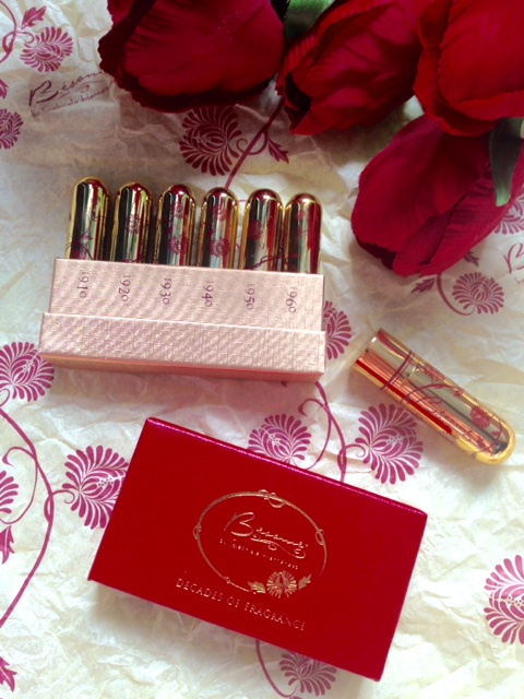 Besame Decades of Fragrance set on Besame wrapping paper neversaydiebeauty.com @redAllison