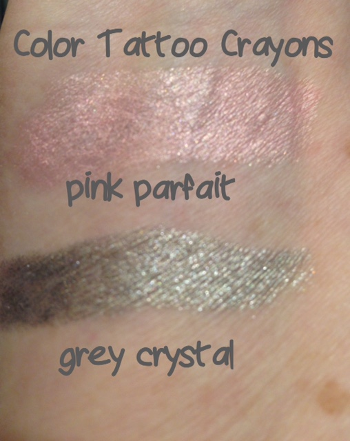 Maybelline Color Tattoo Concentrated Crayons Pink Parfait & Grey Crystal swatches neversaydiebeauty.com @redAllison
