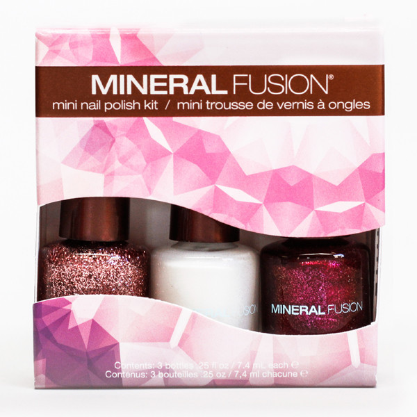 Mineral Fusion Confetti Northern Light Nail Polish Kit, a trio of glittery mini nail polishes in white and shades of red neversaydiebeauty.com @redAllison