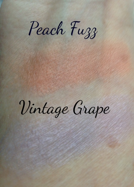 Almay Softies eyeshadow single swatches, Peach Fuzz & Vintage Grape neversaydiebeauty.com @redAllison