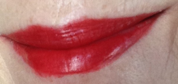 Burt's Bees Lipstick in Scarlet Soaked, red lip swatch neversaydiebeauty.com @redAllison