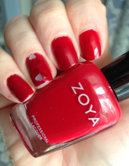 Zoya Nail Lacquer in Janel, a red cream with warm undertones & Color Club Luv02 hearts accent nail neversaydiebeauty.com @redAllison